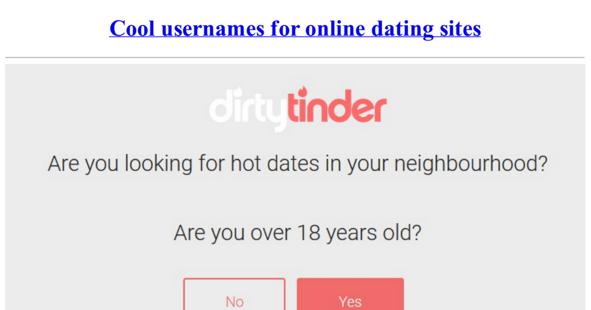 nickname for online dating sites