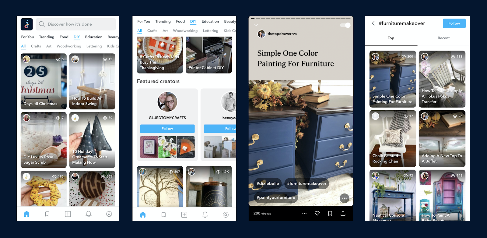 Jumprope screenshots showing viewing, featured creators, and tag pages