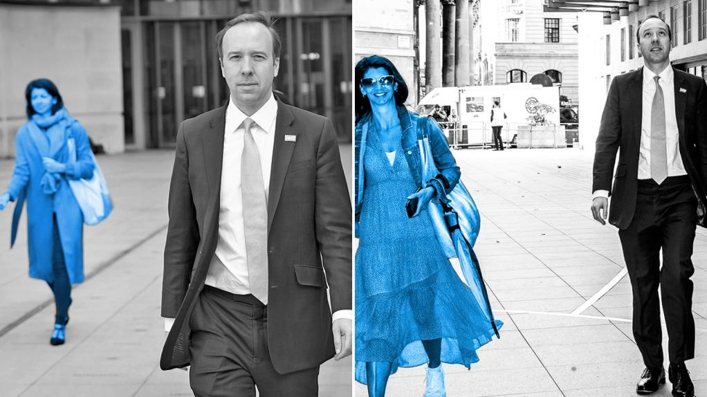 Left, June 7: Heading for The Andrew Marr Show at the BBC. Right, July 5: Arriving at BBC HQ again