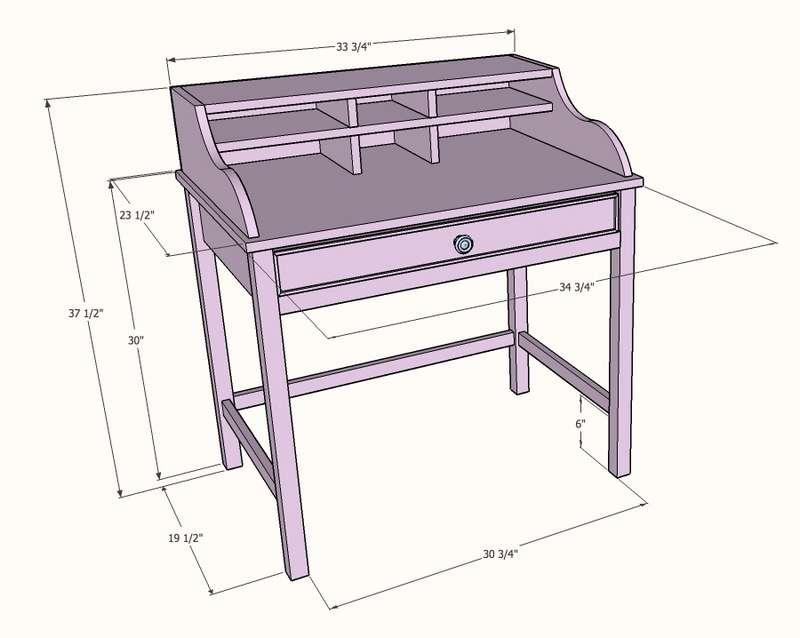 Эскиз более функционального стола-бюро