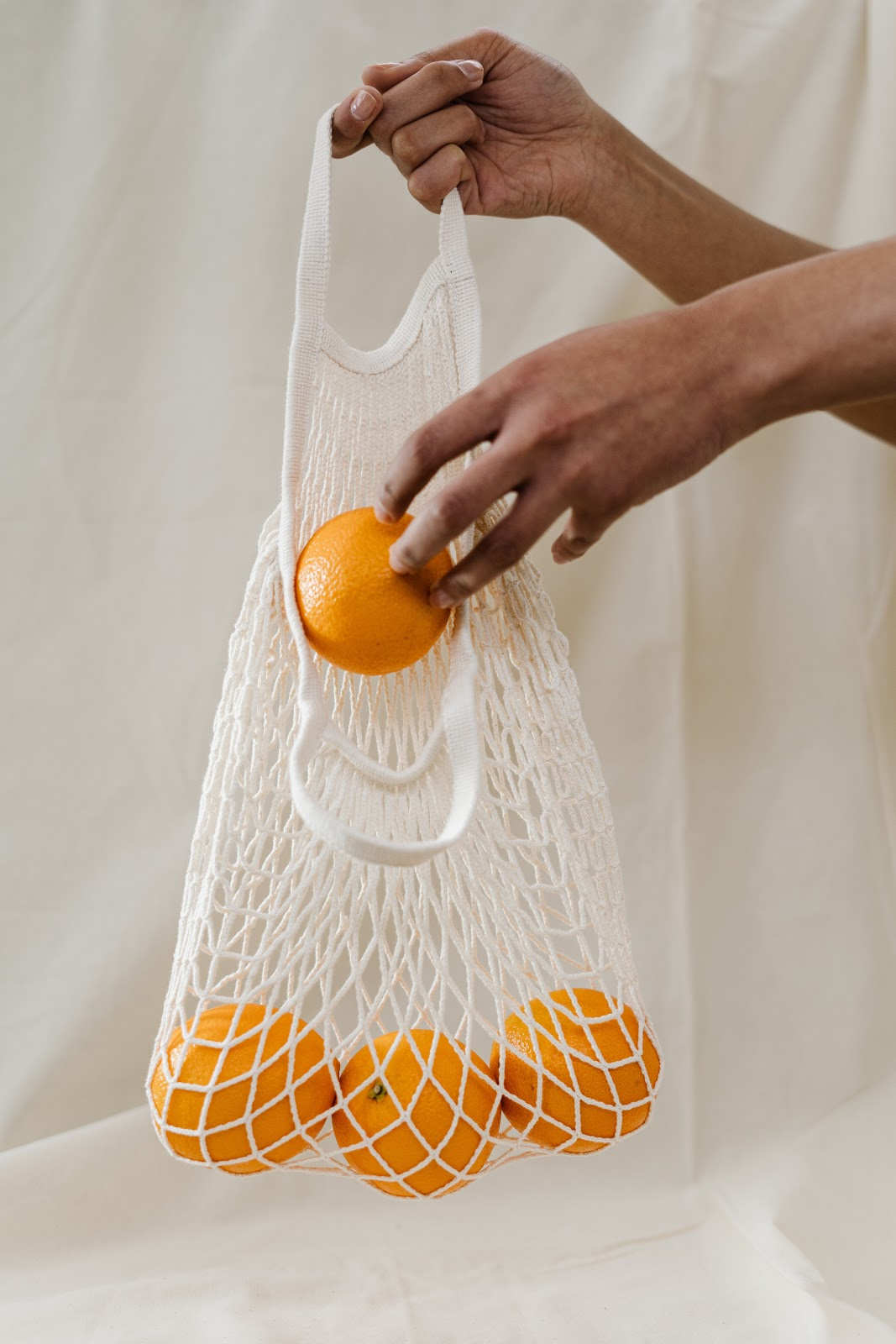 bag of oranges with white background