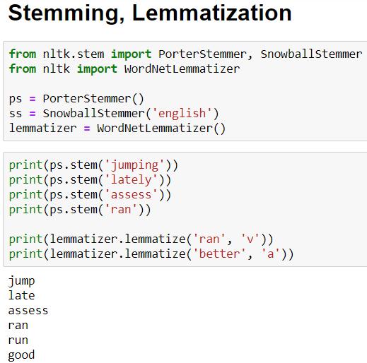 stemming and lemmatization python code