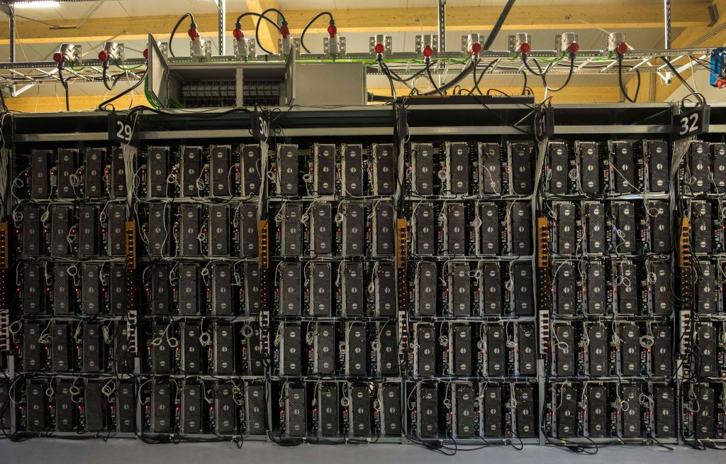 Mining hardware inside Genesis Farming near Reykjavik, Iceland on March 16, 2018. Cryptocurrency's extensive semiconductor and electricity demand does not go to processing transactions, but instead to solving a math problem posed by an encryption algorithm as owners attempt to win a coin lottery.