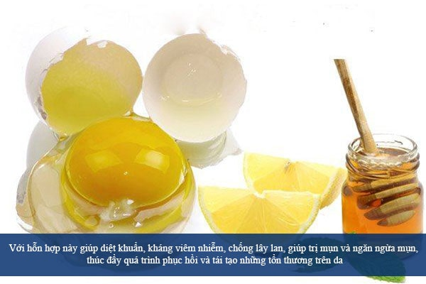 Mặt nạ trứng gà, mật ong và chanh