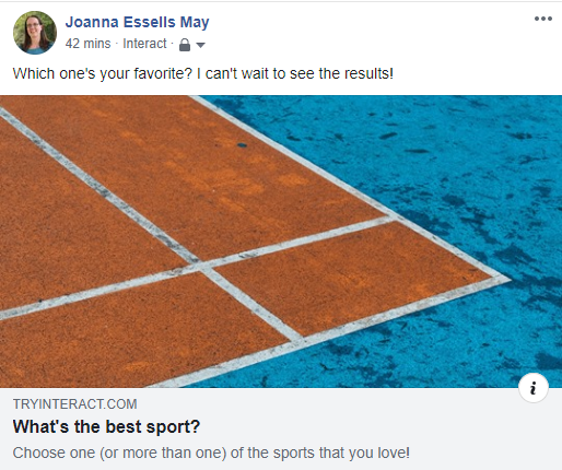 Facebook post with poll