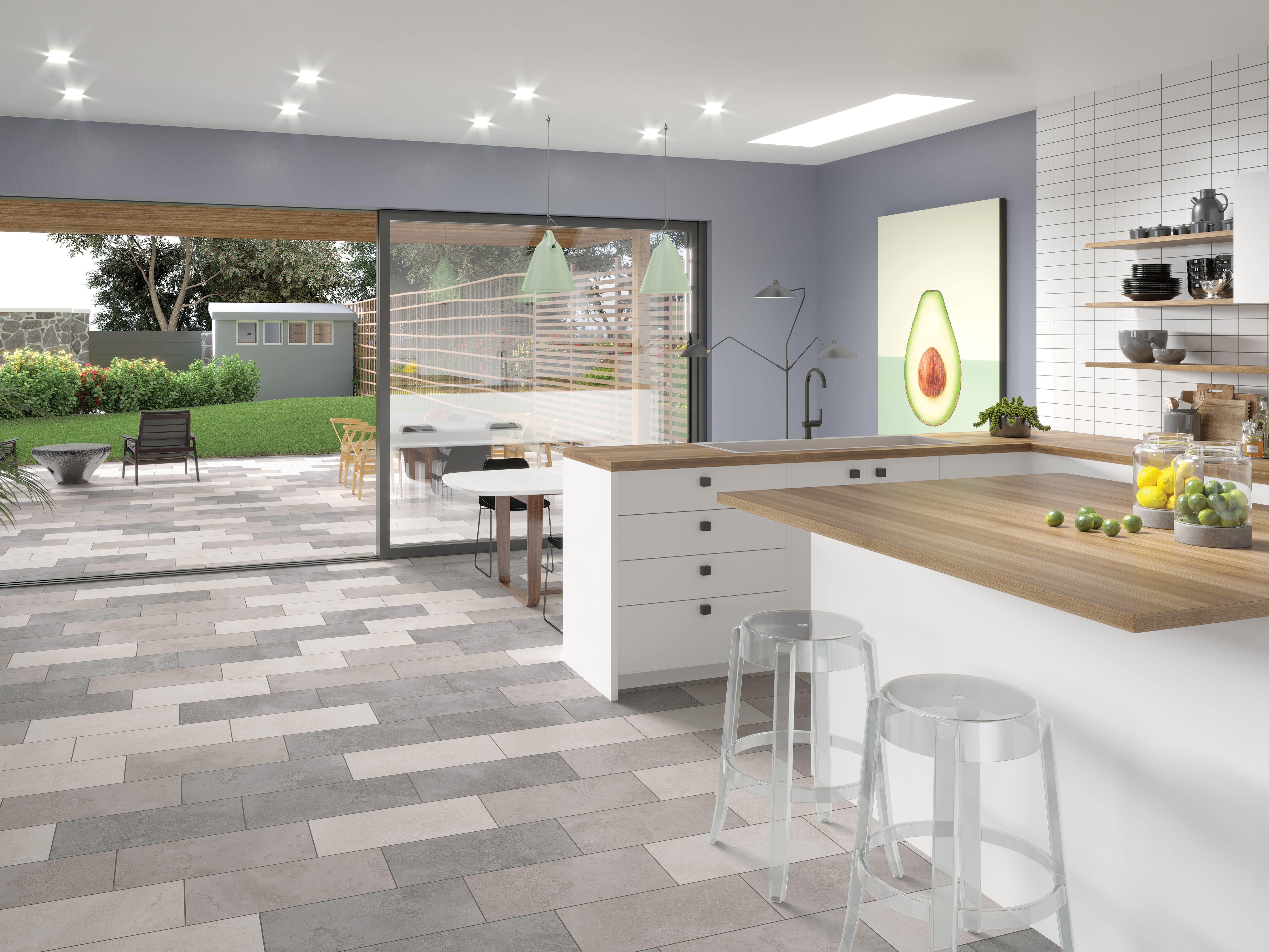 Porcelain tile flooring in an indoor-outdoor kitchen