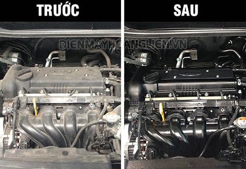 hình ảnh trước - sau khi rửa máy xe ô tô