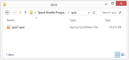 iSpring quiz source folder with editable quizzes.