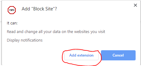 Add Block site on chrome