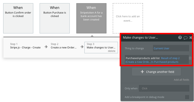 Adding a no-code Shopify product to a users purchase history