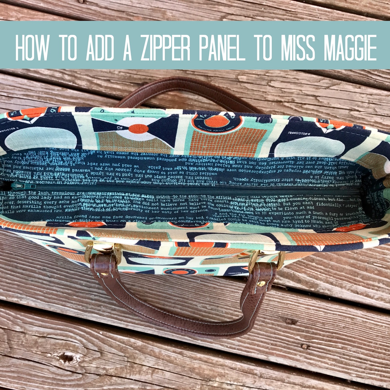 How to add a zipper to our miss maggie handbag, a free tutorial.
