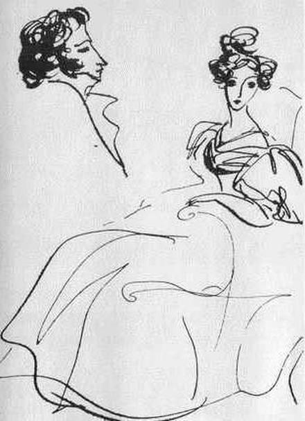 Александр Сергеевич любил рисовать профили – свои и любезной его сердцу Натали