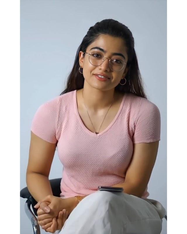 Rashmika Mandanna looking hot in pink T-shirt and glasses