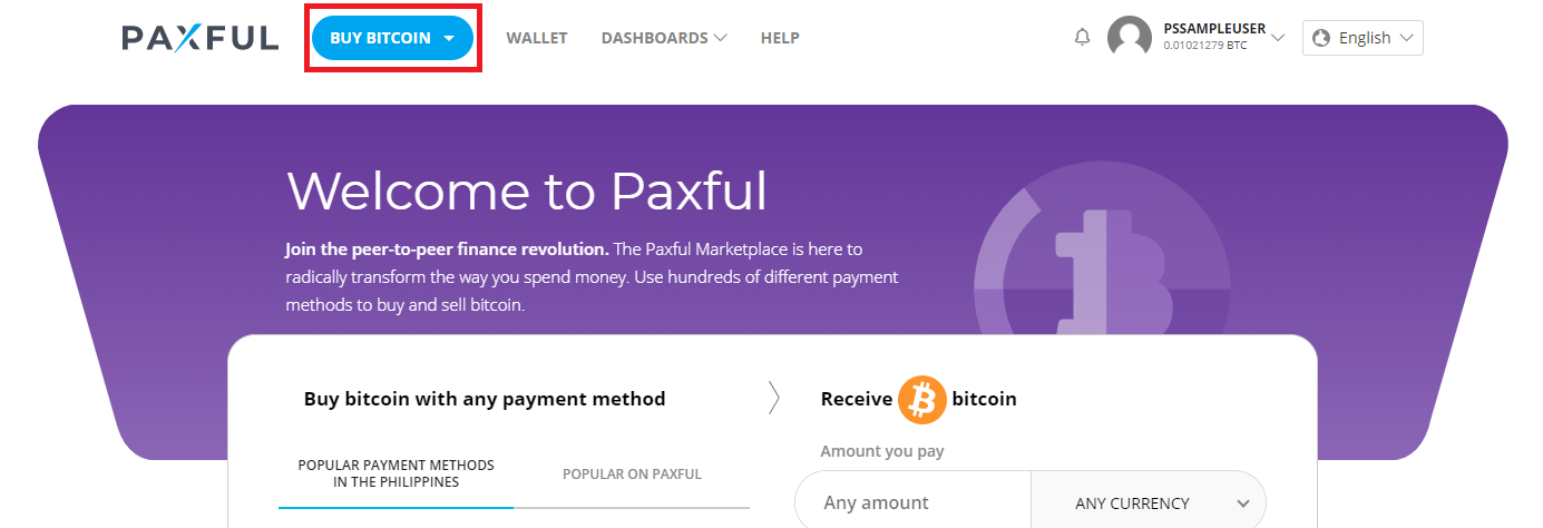 buy bitcoin with cash on paxful