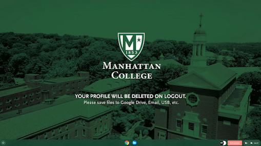 Manhattan College Desktop Background. It is green with the Manhattan College shield logo in the center.