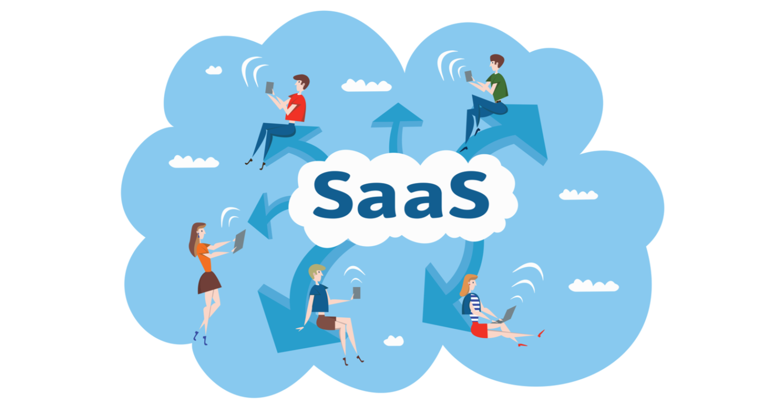 SaaS blue cloud with 5 people using cellphones.