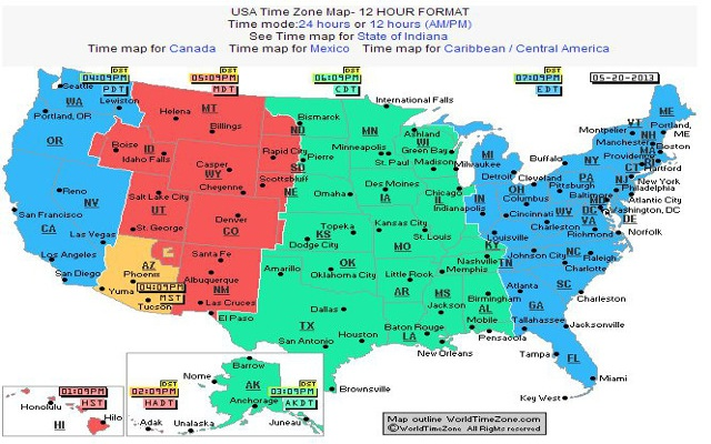 Us Time Zone Map With Clocks.Us Time Zones Clock Lexu Tk