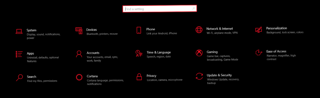 Windows Settings main page