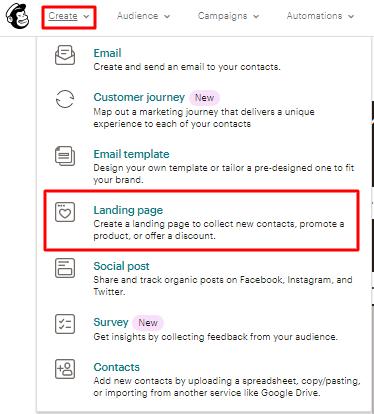 opção de criar landing page no mailchimp