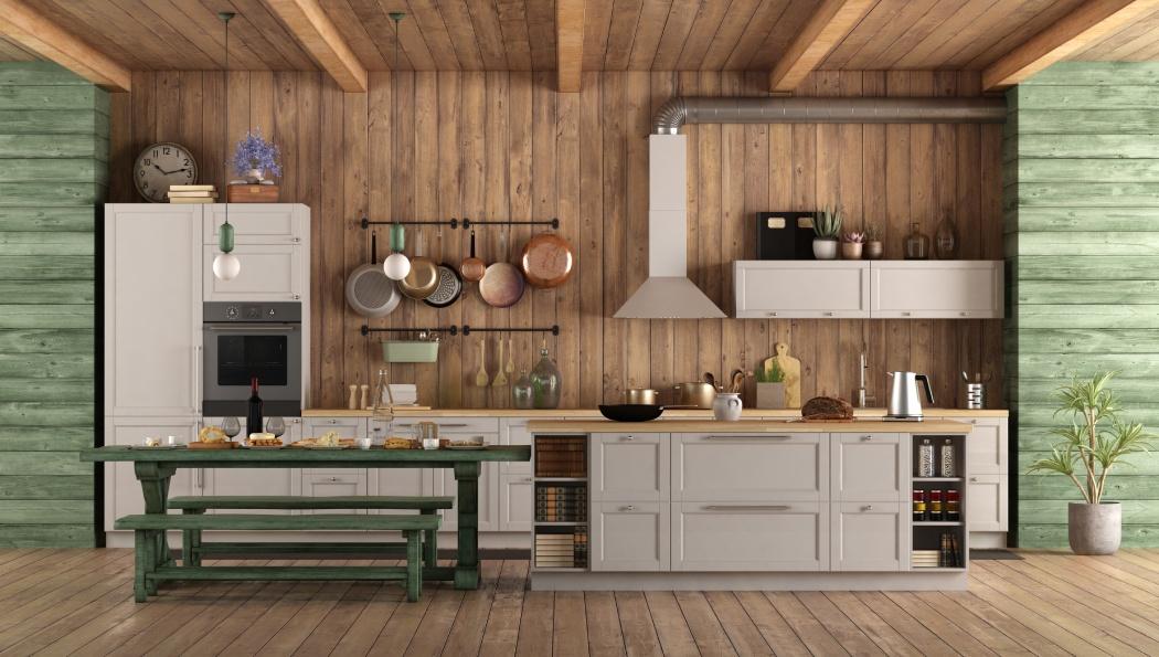kuchnia zwyspą wstylu rustykalnym