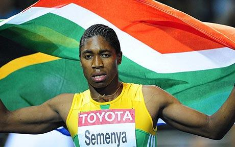 South Africa's Caster Semenya competes in the women's 800m final race of the 2009 IAAF Athletics World Championships on August 19, 2009