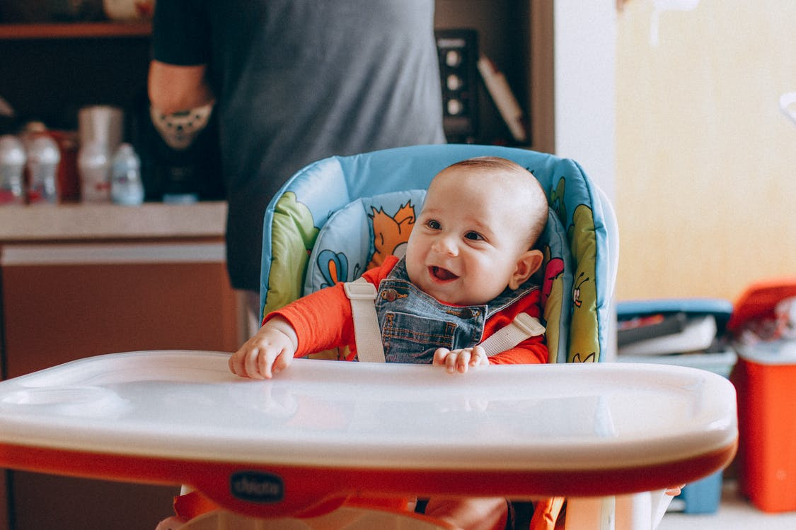 Always wash your baby's feeding tray, and never leave them unsupervised