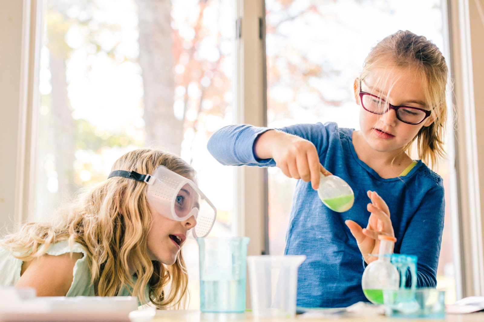 Two girls doing a science experiment