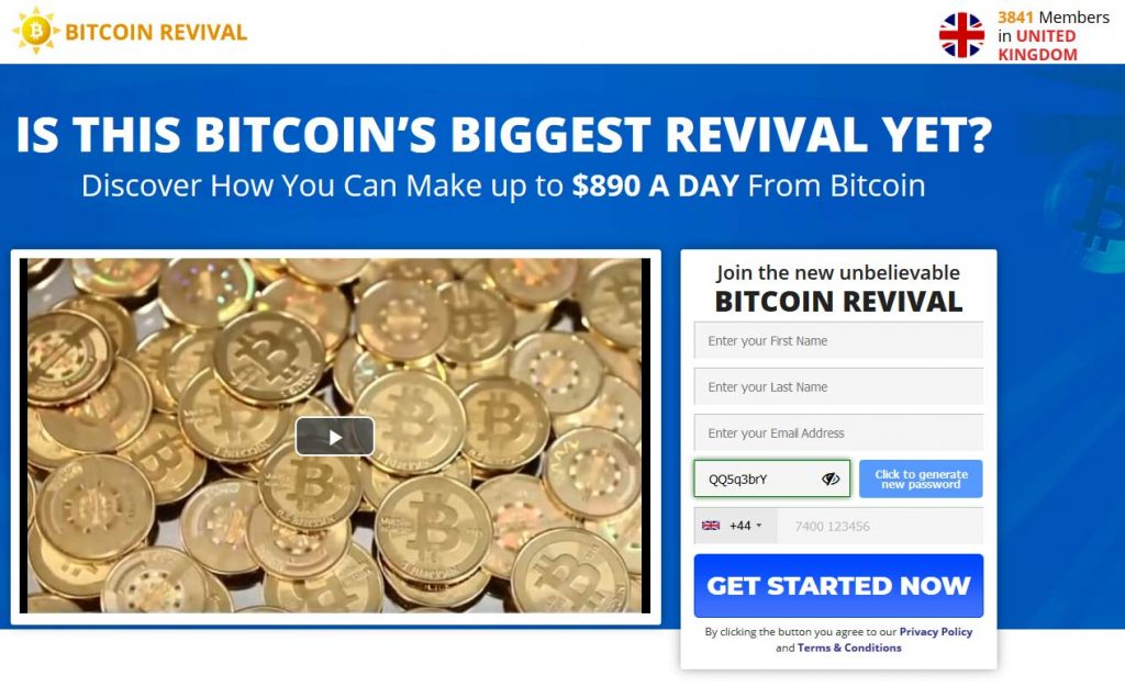 Bitcoin Revival website registration form