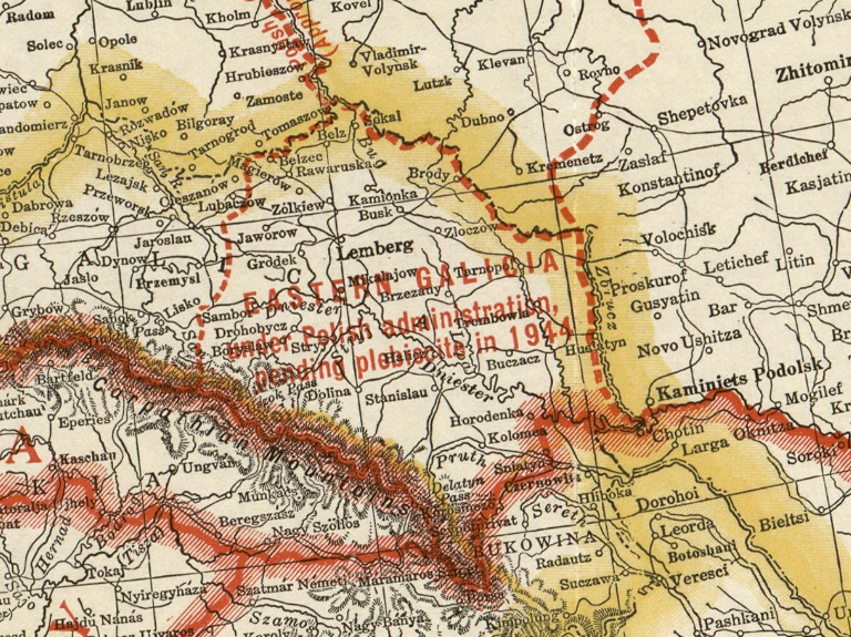 """Східна Галичина з польською адміністрацією до 1944 р. Фрагмент американської """"Карти Європи з країнами, заснованими Паризькою мирною конференцією"""", 1920 р."""