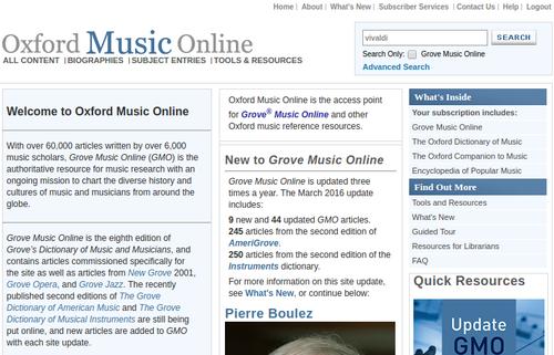 Grove Music Online - Página Inicial