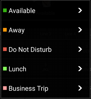 """Set Status"" menu options in 3CX Android app"