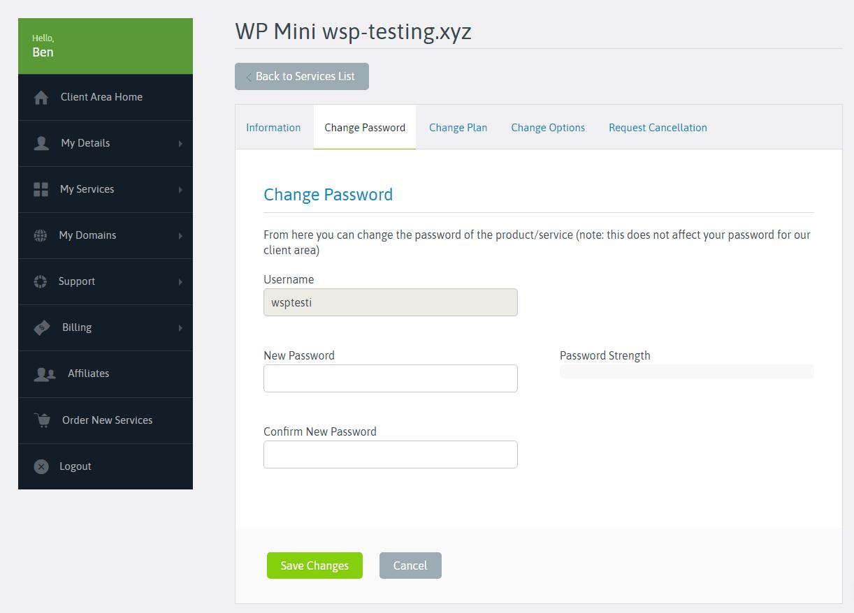 Đánh giá Scala Hosting - Thay đổi mật khẩu