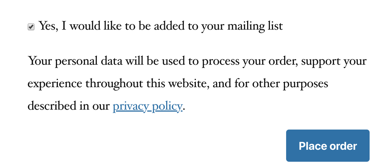 Example of a GDPR-friendly sign-up form you can add to checkout with MailPoet.