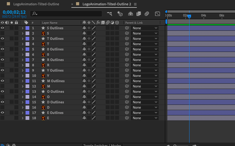 Screenshot of the Adobe After Effects timeline panel