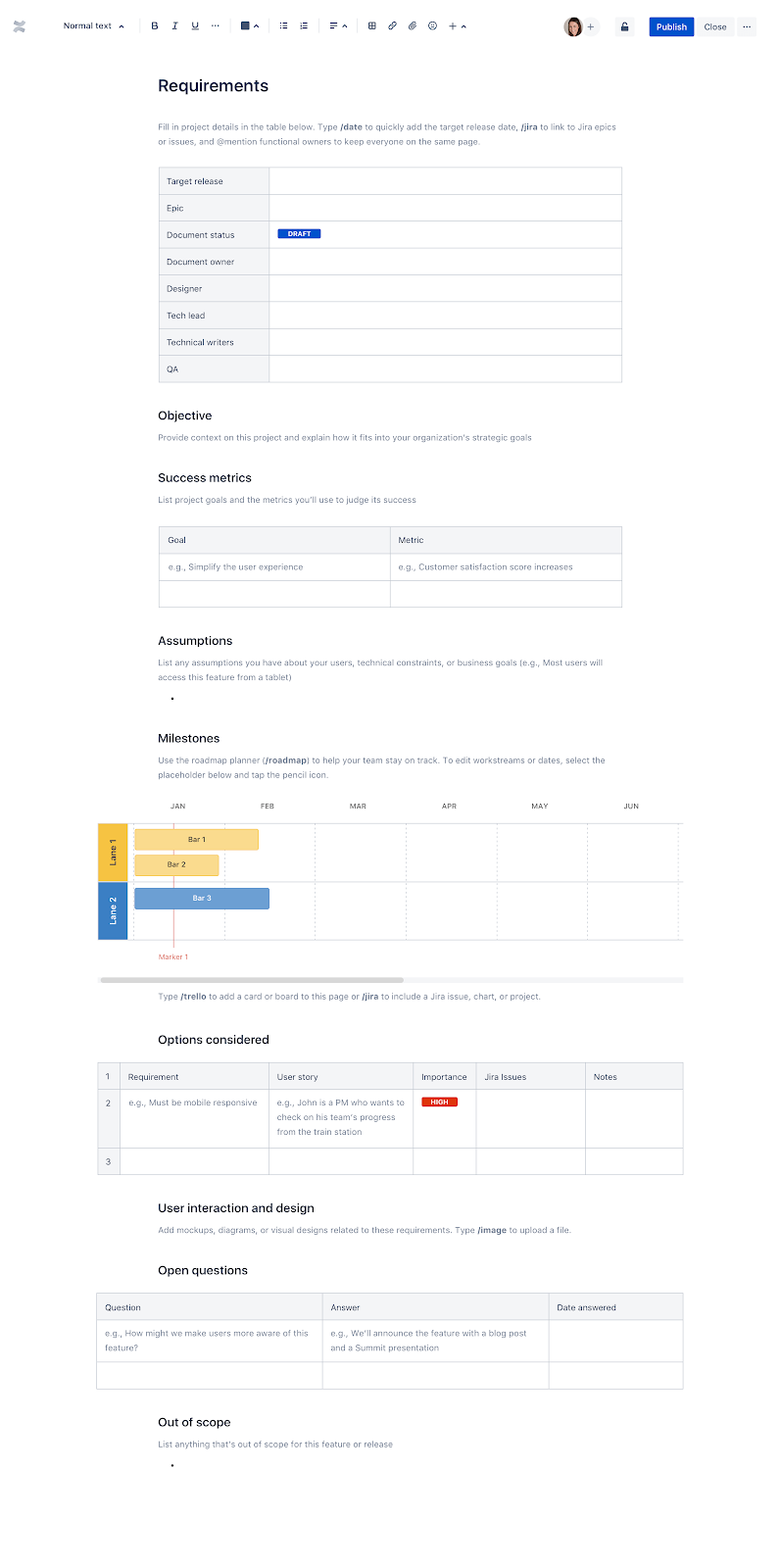 Templates—How to write an effective product requirements document