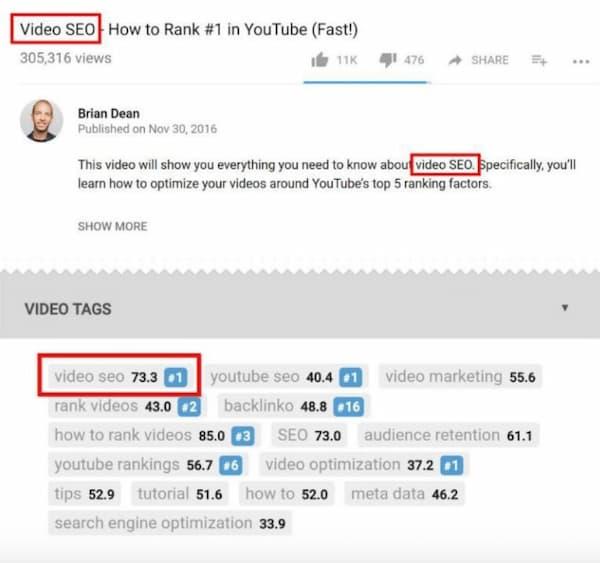 Hình ảnh này làm nổi bật vị trí của các từ khóa trong tối ưu hóa video YouTube.  Đây là một chiến thuật SEO nâng cao sẽ giúp bạn kiếm được rất nhiều lưu lượng truy cập