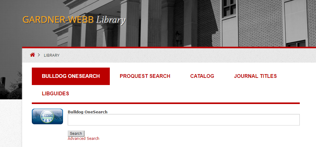 Bulldog OneSearch Library's homepage