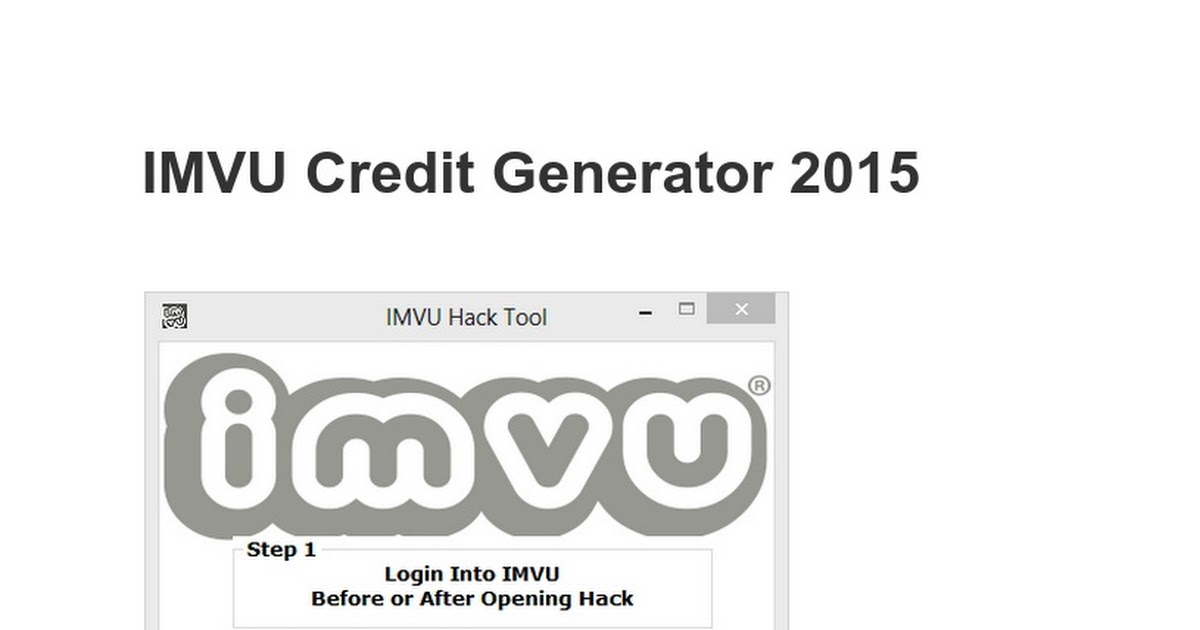 Imvu Credit Cheat