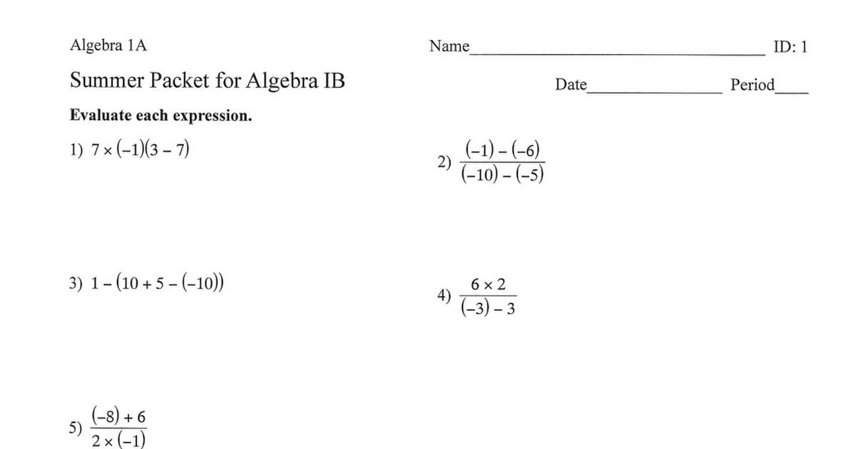 Algebra I B Summer Packet 2019 pdf - Google Drive