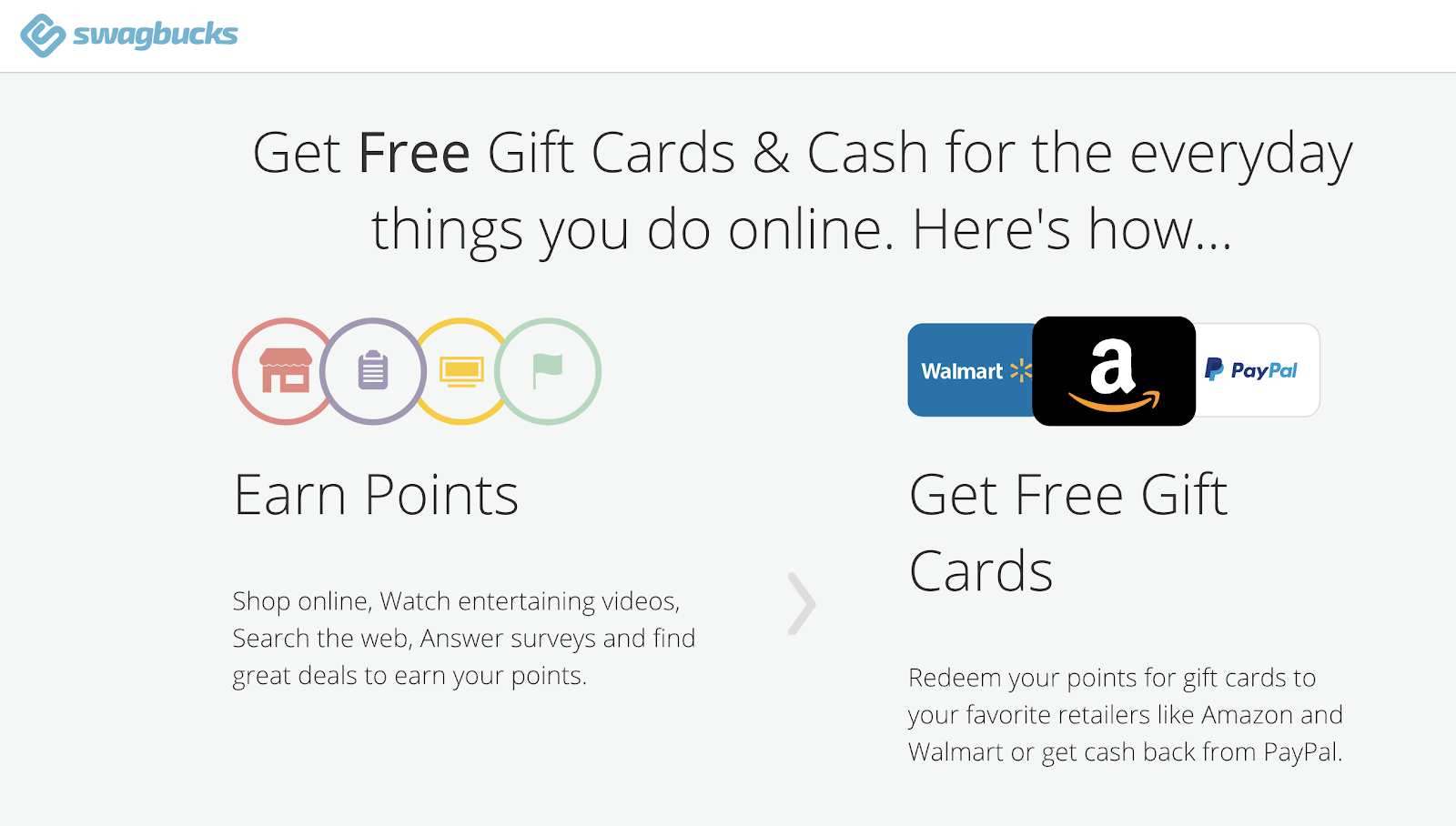 Swagbucks gives free gift cards for doing surveys, and watching videos