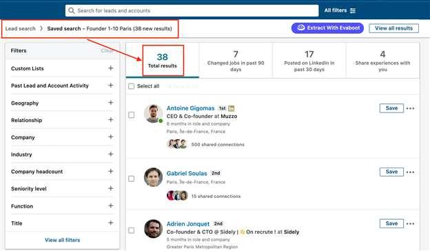sales navigator saved searches results