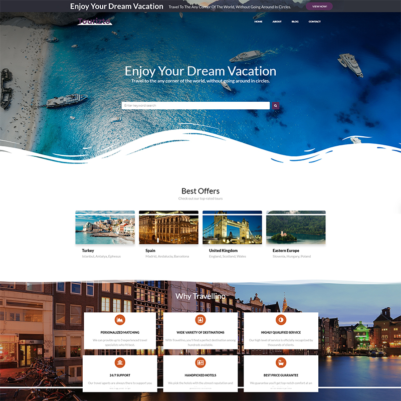 Tourizto lite - Travel Company Elementor WordPress Theme