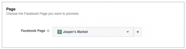 Select the Facebook page you want to advertise