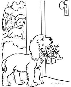 A dog valentine coloring page