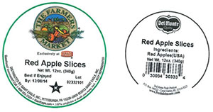 Label, The Farmers Market Red Apple Slices, 12 oz