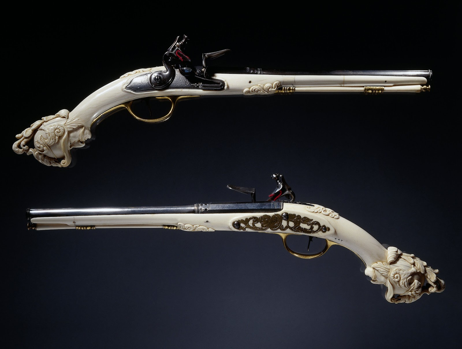 Two flintlock pistols from the Rijksmuseum's collection of antique weapons.