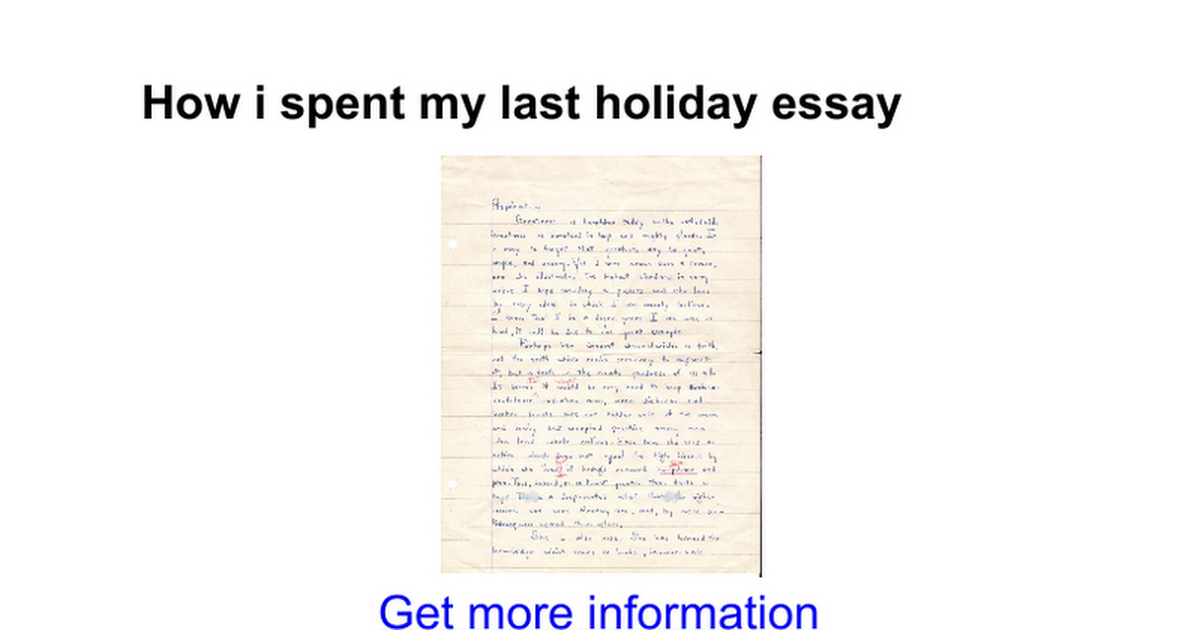 Essay about your summer holidays
