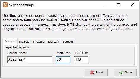 mengubah port xampp 6