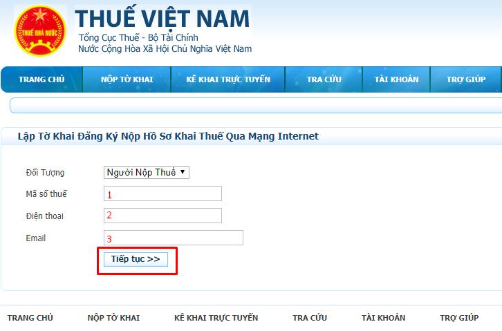 Lập tờ khai đăng ký nộp hồ sơ khai thuế qua mạng Internet