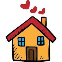 [Bức ảnh một cam nhạt hoạt hình nhà với hai màu xanh lam các cửa sổ, một cửa màu nâu, một mái đỏ, và tim đỏ khói đến từ một cam ống khói.]